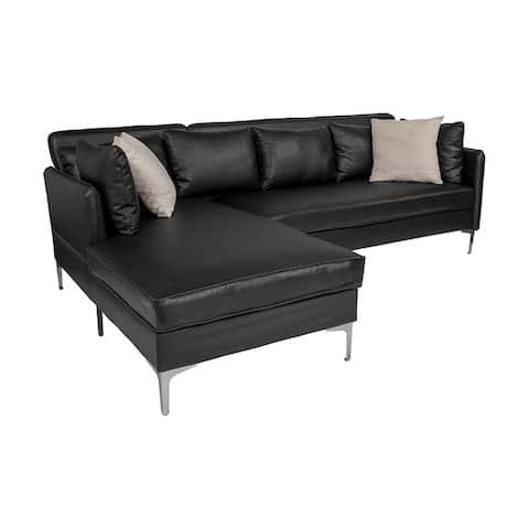 Offex Upholstered Accent Pillow Back L-Shaped Sectional with Left Side Facing Chaise in Black Leather