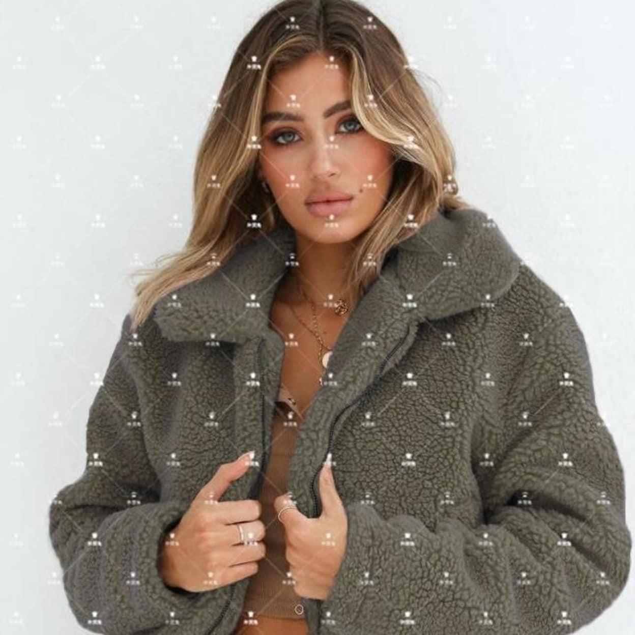 HOTLOOX Women Winter Lapel Fuzzy Fleece Jackets Oversized Zipper Teddy Coats S-XXL