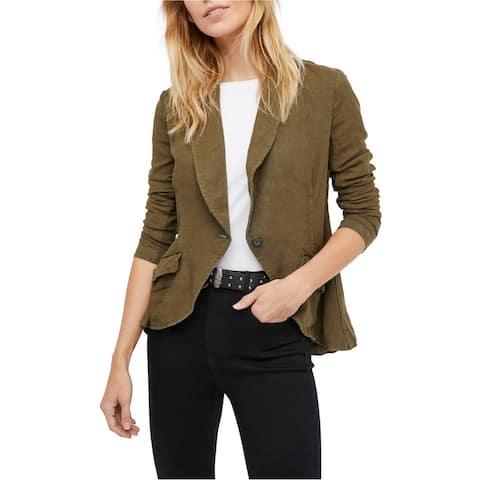 Free People Womens Linen Blazer Jacket, green, X-Small