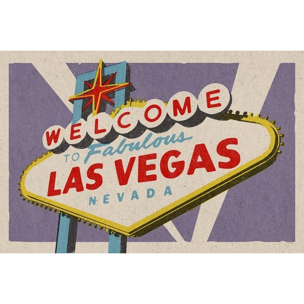Las Vegas NV - Welcome Sign Woodblock - LP Artwork (100% Cotton Towel Absorbent)