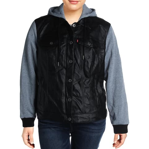 Levi Strauss & Co. Womens Plus Moto Coat Faux-Leather Hooded - Black - 1X