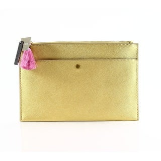 J.Crew NEW Gold Large Saffiano Zip Top Clutch Leather Pouch Handbag
