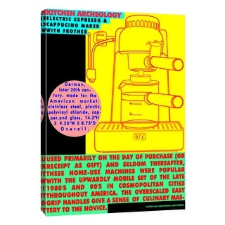 """PTM Images 9-105214  PTM Canvas Collection 10"""" x 8"""" - """"Kitchen Archeology - Electric Expresso Machine"""" Giclee Coffee Art Print"""