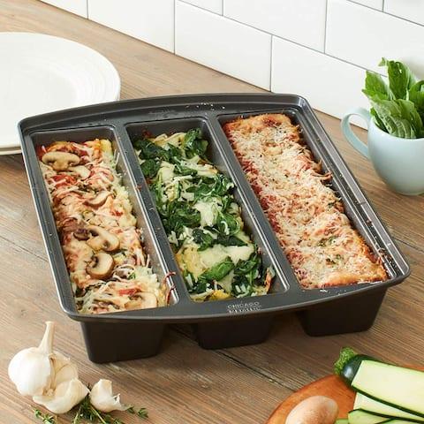 Chicago Metallic Professional Lasagna Trio Baking Pan, 12x15x3 Inches, Silver - 12x15x3 Inches