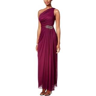 Alex Evenings Womens Petites Evening Dress Embellished One Shoulder - 12P