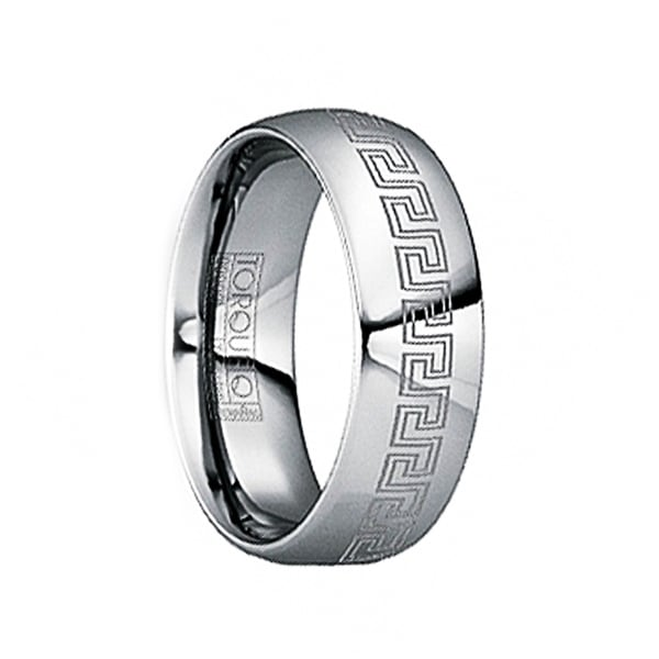 FULVIUS Tungsten Wedding Ring with Engraved Greek Key Motif & Polished Finish by Crown Ring - 6mm