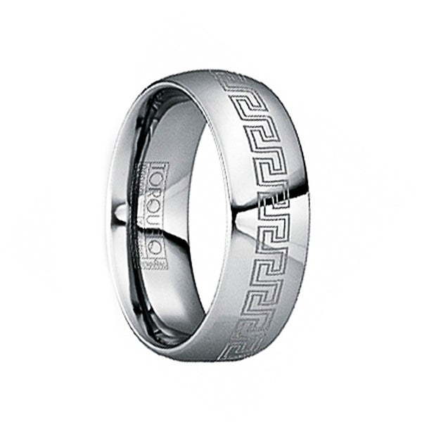 FULVIUS Tungsten Wedding Ring with Engraved Greek Key Motif & Polished Finish by Crown Ring