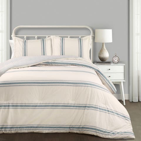 Lush Decor Farmhouse Stripe 3 Piece Comforter Set