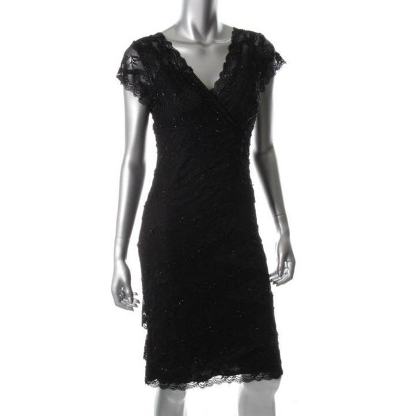 Marina Womens Lace Tiered Cocktail Dress   6   19784112