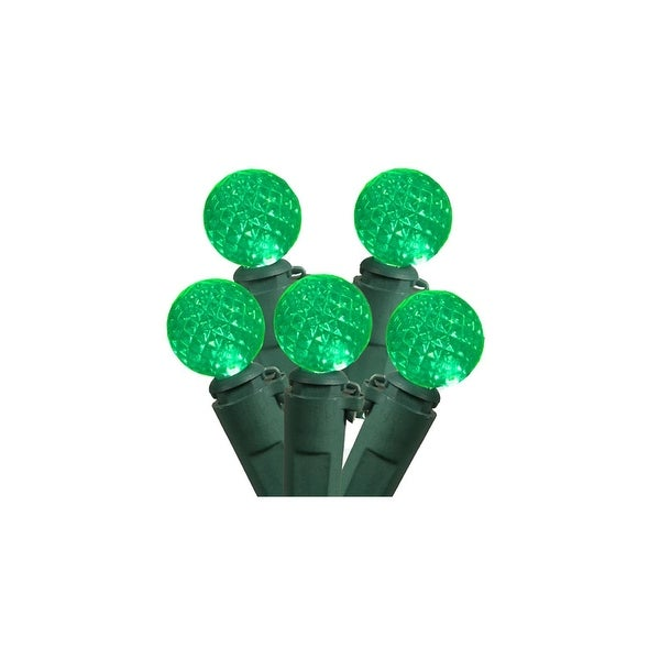 """Set of 50 Green LED G12 Berry Christmas Lights 4"""" Bulb Spacing - Green Wire"""