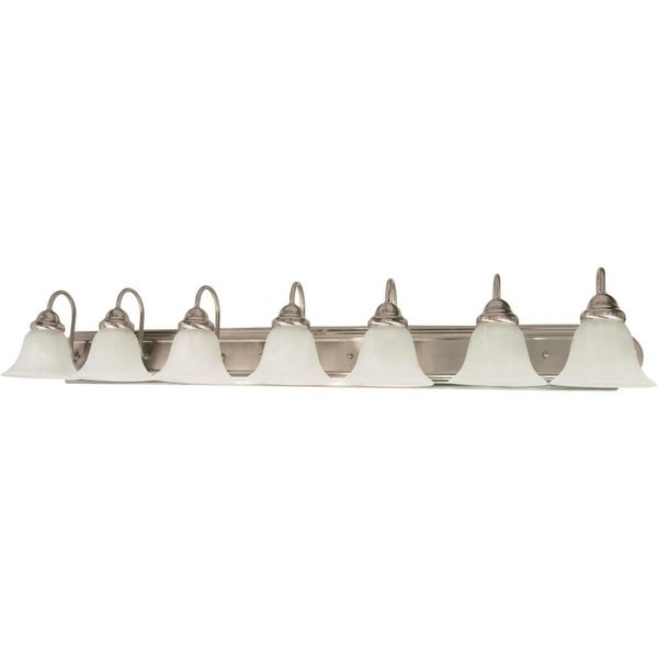 """Nuvo Lighting 60/291 Ballerina 7-Light 48"""" Wide Bathroom Vanity Light with Frosted Glass Shades - Brushed nickel"""