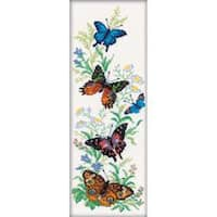 """6.25""""X17.75"""" 14 Count - Flying Butterflies Counted Cross Stitch Kit"""