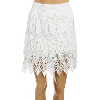 Aqua Womens Tiered Skirt Lace Pull On - XS