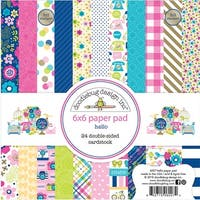 """Doodlebug Double-Sided Paper Pad 6""""X6"""" 24/Pkg-Hello, 12 Designs/2 Each"""