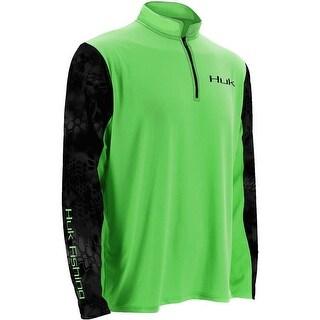 Huk Men's Kryptek Sleeve Icon Neon Green Small 1/4 Zip Long Sleeve Shirt