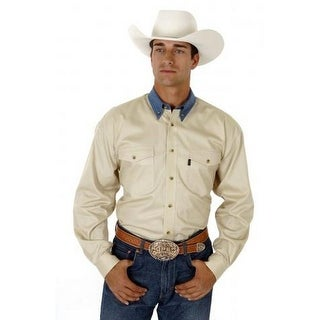 Roper Western Shirt Mens L/S Solid Button Khaki 06-001-0612-0162 KH