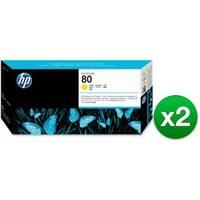 HP 80 Yellow DesignJet Printhead & Printhead Cleaner (C4823A) (2-Pack)