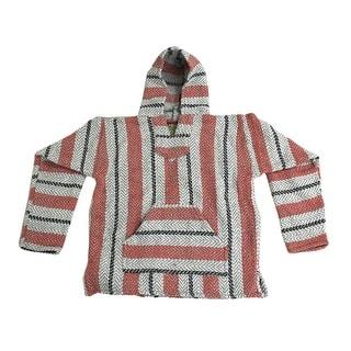 Baja Joe Sherbert Striped Pink & Grey Eco-Friendly Woven Hoodie