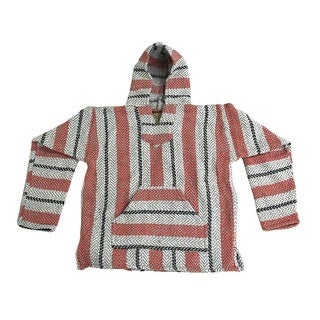 Baja Joe Sherbet Striped Pink & Grey Eco-Friendly Woven Hoodie
