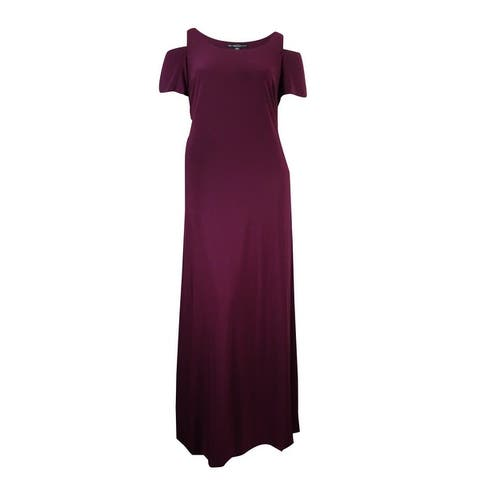 Betsy & Adam Women's Cold-Shoulder Jersey Gown - Wine - 18W