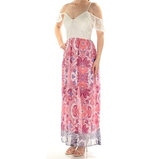 Womens Pink Spaghetti Strap Maxi Sheath Casual Dress Size: M