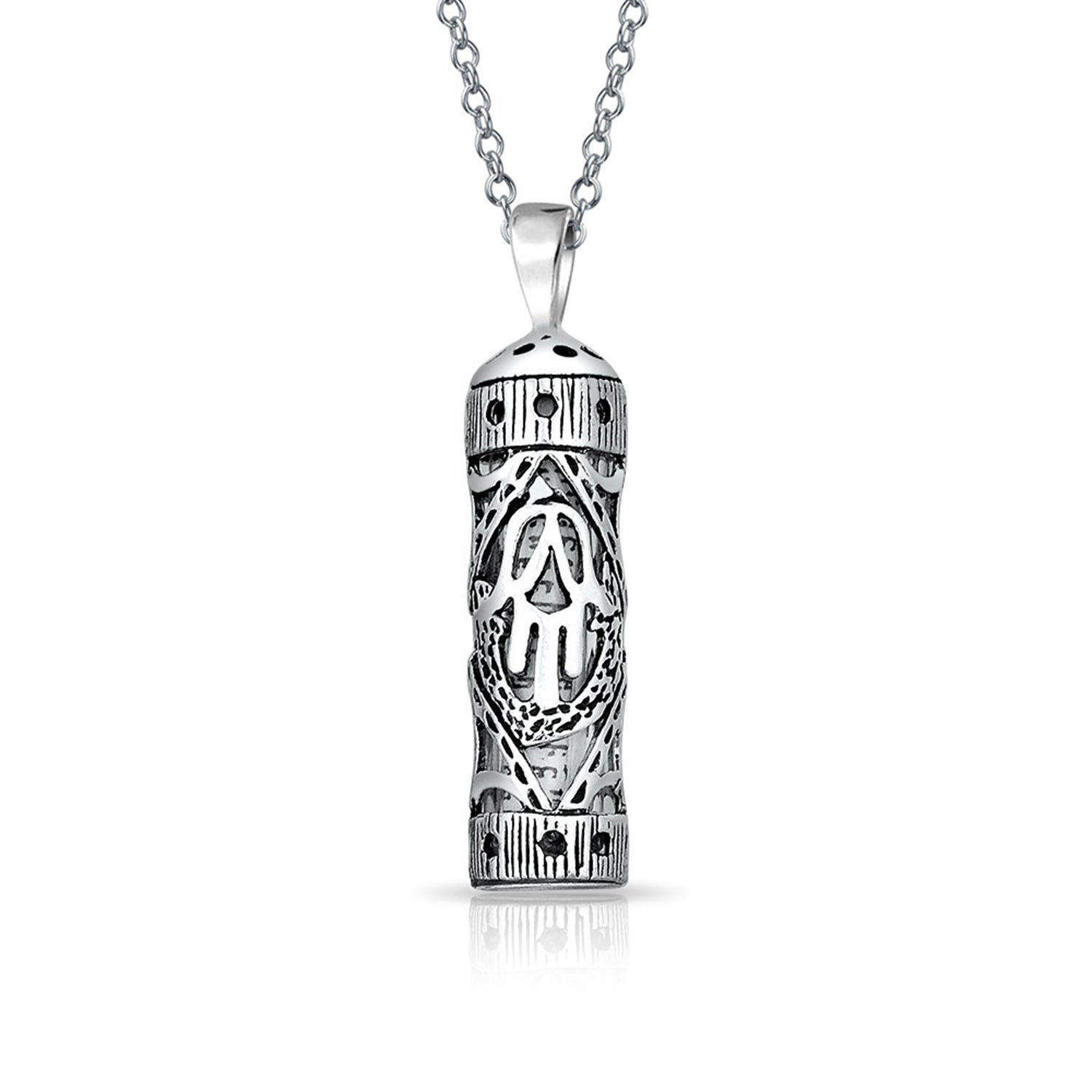.925 Sterling Silver Mezuzah with Star and Hand of God Charm Pendant