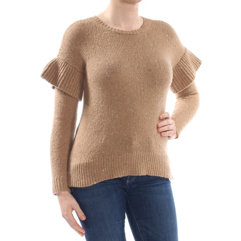 RALPH LAUREN Womens Brown Ruffled Sweater Long Sleeve Crew Neck Top Size: XS