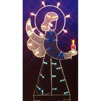 "47"" Angel Nativity Silhouette Lighted Wire Frame Christmas Outdoor Decoration"