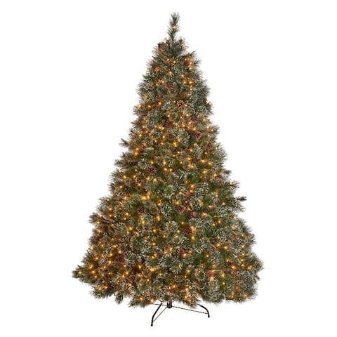 7ft Cashmere Pre-Lit, Unlit, or Multi-Colored Artificial Christmas Tree w/ Snowy Branches & Pinecones by Christopher Knight Home