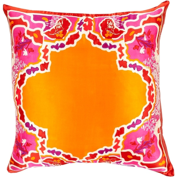 "20"" Bright Orange and Purple Floral Pattern Woven Square Throw Pillow - Down Filler"
