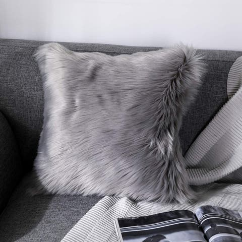 "Luxury Series Collection Textured Merino Style Fur Throw Fuzzy Pillow Cover for Couch, Bedroom, Sofa 18"" x 18"""