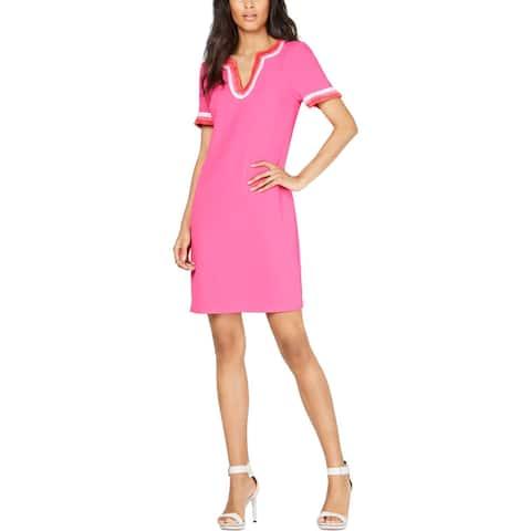 Trina Turk Womens Vibrant Shift Dress Fringed V-Neck - Pink