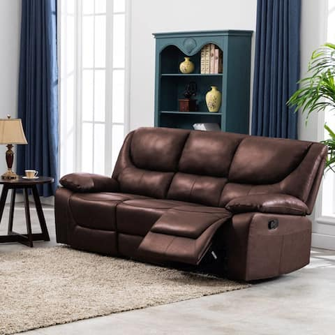 Contemporary Top Grain Leather Upholstered Reclining Sofa