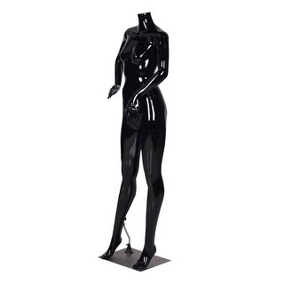 Costway Headless Female Mannequin Full Body Plastic Dress Form Display High Gloss Black