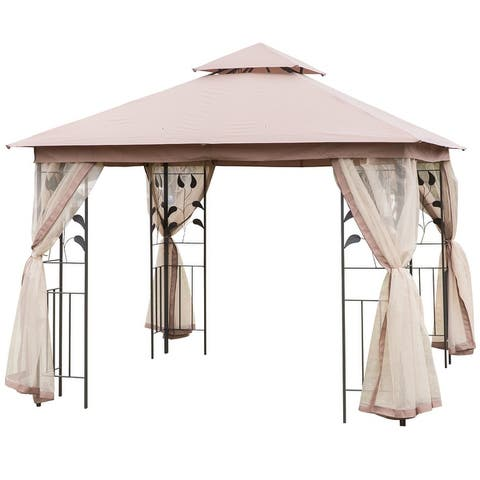 Outsunny 10' x 10' Steel Fabric Rectangle Outdoor Gazebo with Mesh Curtain Sidewalls & 2-Tiered Vented Canopy Top, Brown