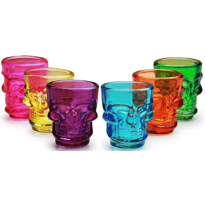Palais Glassware 'Crâne' Collection, High Quality Skull Shot Glasses, Set Of 6 (Multi Colored) - Thumbnail 0