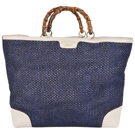 Gucci 338964 Large Blue Straw Leather Bamboo Handle Purse Tote Shopper
