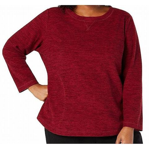 Karen Scott Womens Sweater Pullover Marled Red Size 1X Plus Crewneck