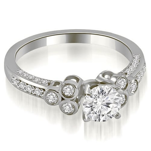 1.17 cttw. 14K White Gold Round Cut Diamond Engagement Ring