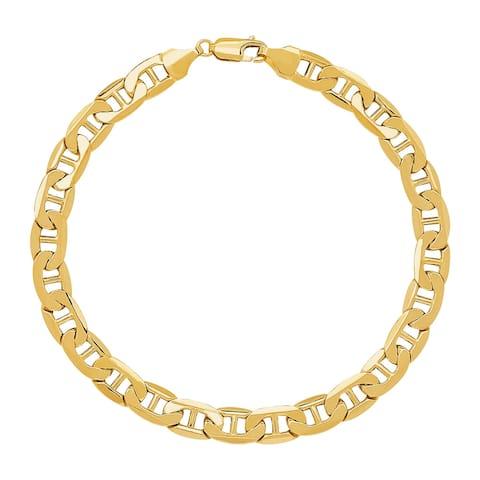 Welry Men's Italian-Made 7.22 mm Beveled Mariner Link Bracelet in 10K Gold, 8.5 Inches