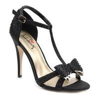Luichiny Women's Piper Zoe T-Strap Sandal Black Satin