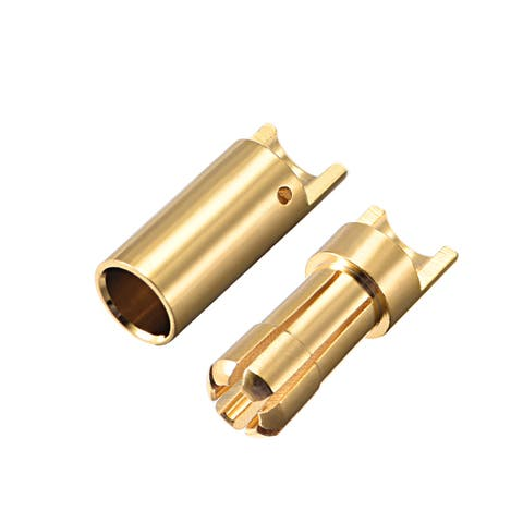 2 Pairs 5.5mm Gold Plated Male & Female Bullets Connectors Banana Plugs (2 Male + 2 Female) #0180 - 5.5mm Male Female 2pairs