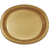 """Club Pack of 96 Glittering Gold Oval Paper Banquet Dinner Plates 12"""""""