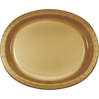 """Club Pack of 96 Glittering Gold Disposable Paper Banquet Dinner Plates 12"""""""