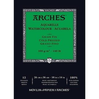 """Arches Watercolor Cold Pressed Paper Pad 10""""X14"""" 12 Sheets-"""