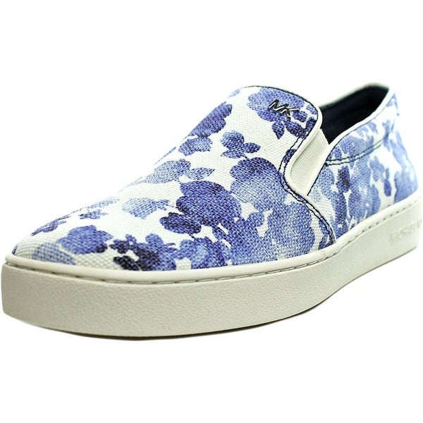 Michael Michael Kors Keaton Slip On Women Round Toe Canvas Blue Sneakers