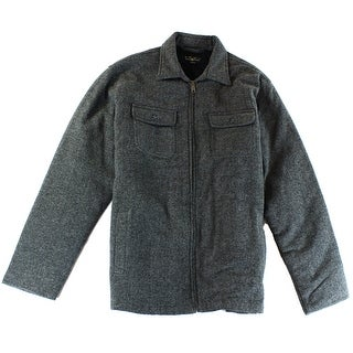 Club Room NEW Gray Mens Large L Faux-Fur-Lined Full Herringbone Jacket