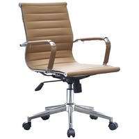 2xhome - Tan Modern Ergonomic Mid Back PU Leather Executive Office Chair Ribbed Swivel Tilt Conference Room Boss Home