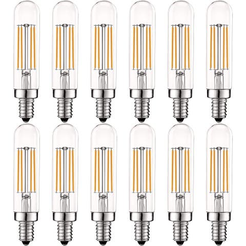 Luxrite Vintage E12 LED Bulb 60W Equivalent, T6 T6.5, 2700K Warm White, 500 Lumens, Dimmable LED Tube Bulbs (12 Pack)