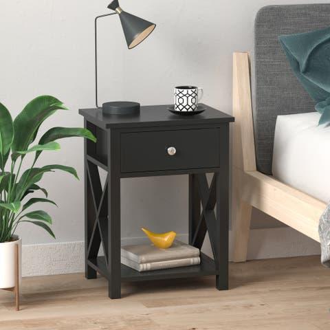 Modern 1 - Drawer Wood Nightstand Bedside Cabinet Bedside End Table
